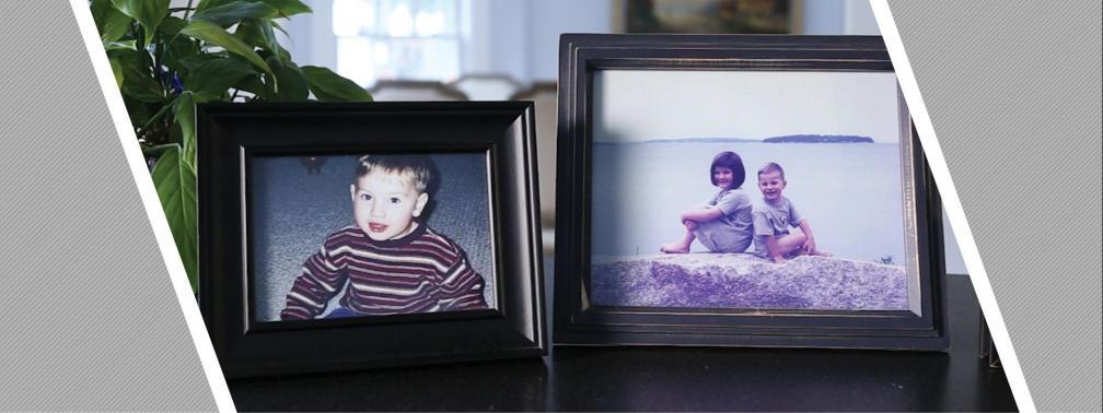 Kowalcyk family photos displayed on a table