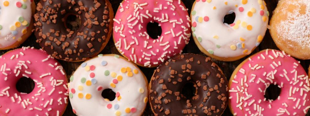 Colorful display of donuts